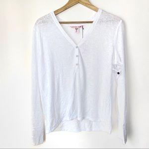 Victoria's Secret White Burnout Pajama Shirt L NWT